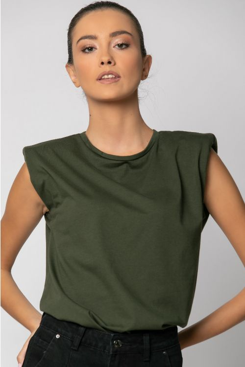 T-shirt με βάτες-ΧΑΚΙ
