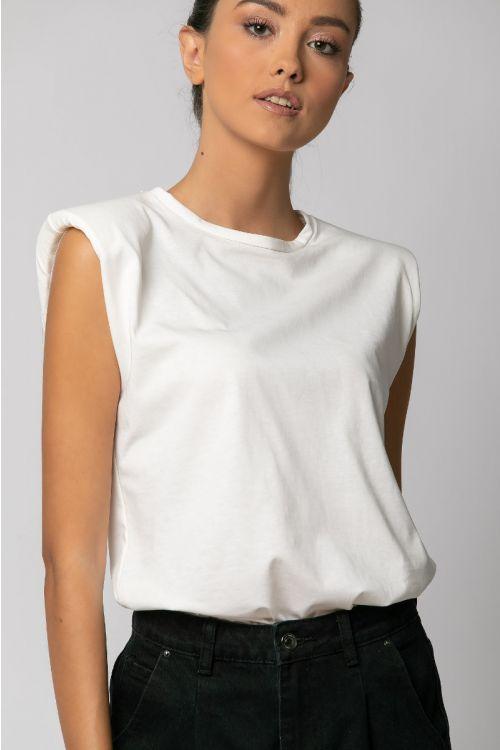 T-shirt με βάτες-ΕΚΡΟΥ