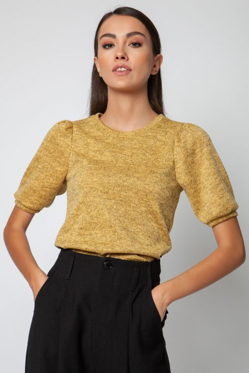 T-shirt με φούσκα στο μανίκι-ΚΙΤΡΙΝΟ