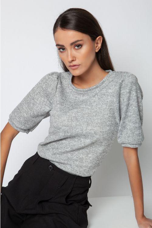 T-shirt με φούσκα στο μανίκι-ΓΚΡΙ