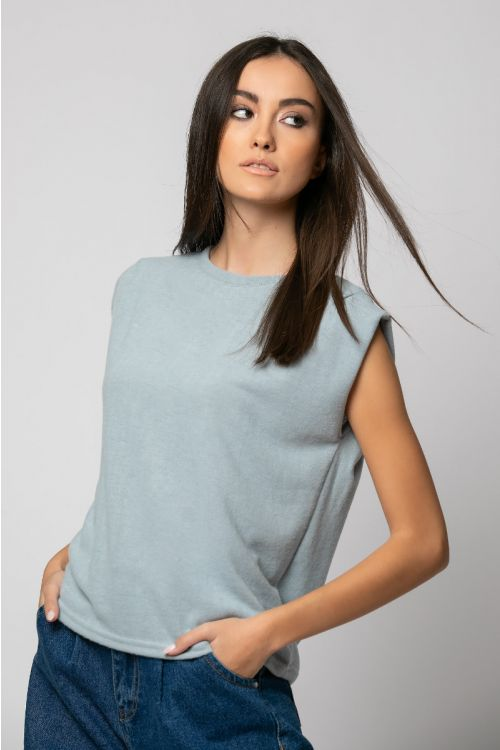 T-shirt με πιέτα στον ώμο-ΓΑΛΑΖΙΟ