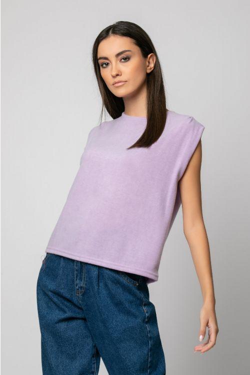 T-shirt με πιέτα στον ώμο-ΛΙΛΑ