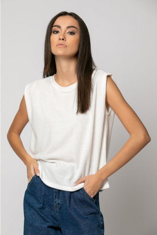 T-shirt με πιέτα στον ώμο-ΕΚΡΟΥ
