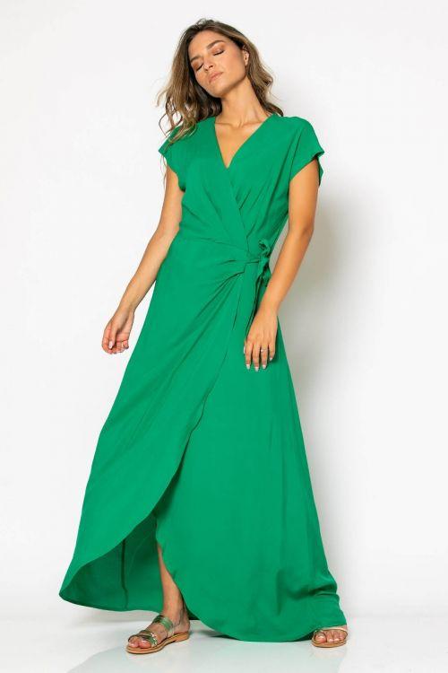 Μάξι κρουαζέ φόρεμα-ΠΡΑΣΙΝΟ