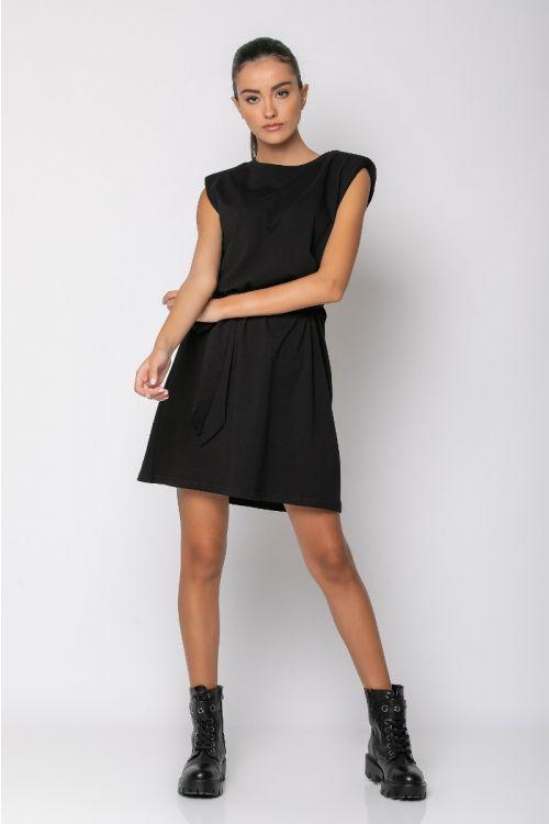 Μίνι φόρεμα με βάτες -ΜΑΥΡΟ