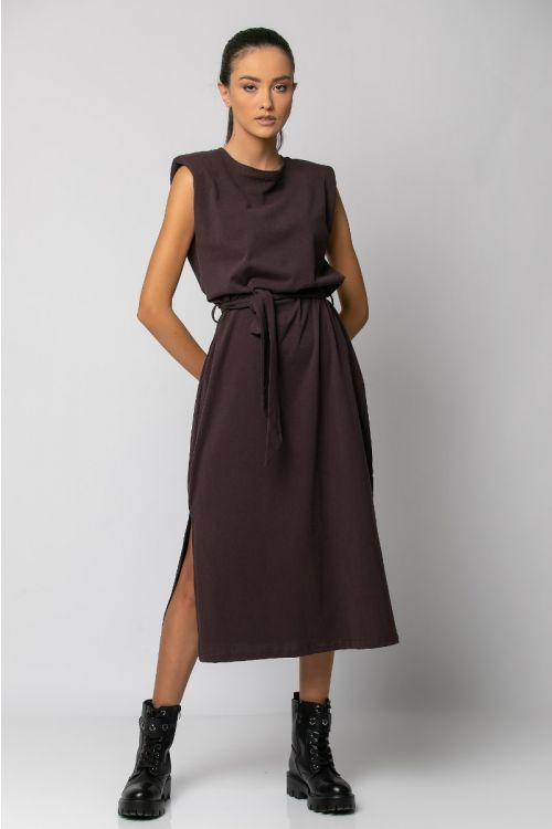 Μίντι φόρεμα με βάτες-ΜΠΟΡΝΤΟ ΣΚΟΥΡΟ