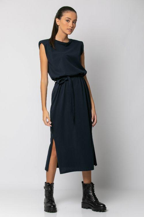 Μίντι φόρεμα με βάτες-ΜΠΛΕ NAVY