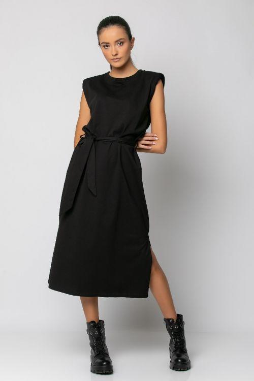Μίντι φόρεμα με βάτες-ΜΑΥΡΟ