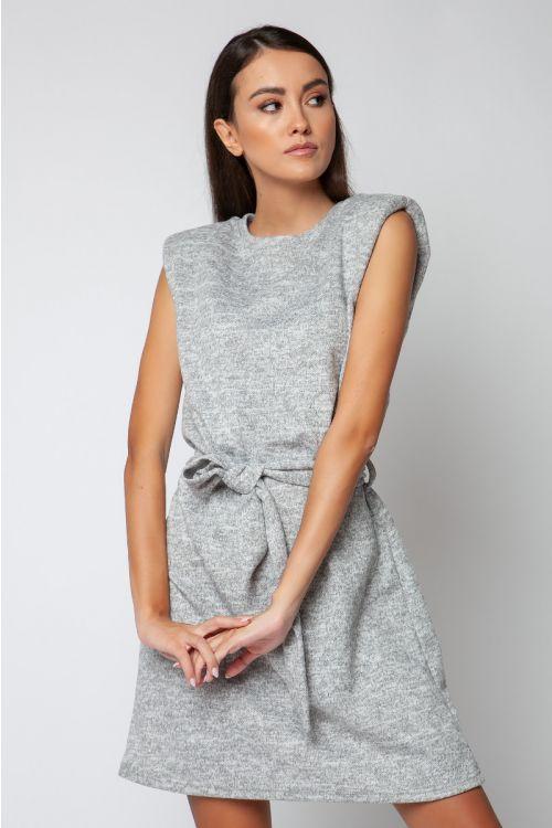 Φόρεμα μίνι με βάτες-ΓΚΡΙ