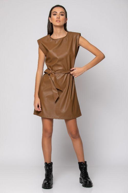Μίνι φόρεμα με βάτες δερματίνη-ΤΑΜΠΑ