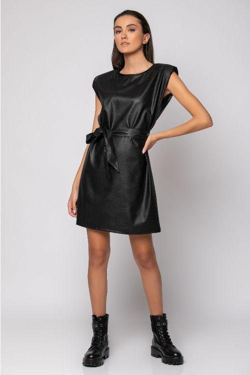 Μίνι φόρεμα με βάτες δερματίνη-ΜΑΥΡΟ