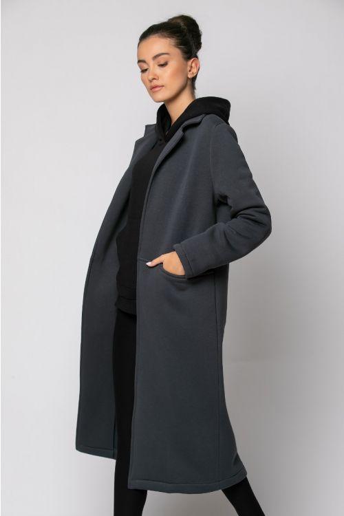 Παλτό φούτερ μακρύ-ΑΝΘΡΑΚΙ