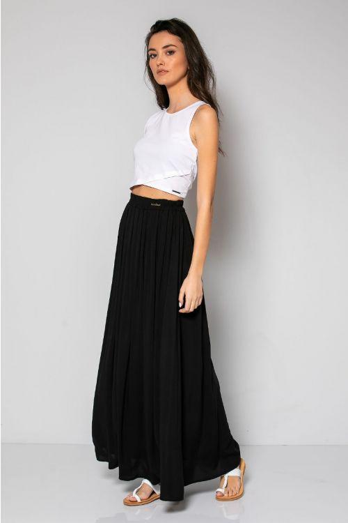 Μάξι φούστα με λάστιχο στη μέση-ΜΑΥΡΟ