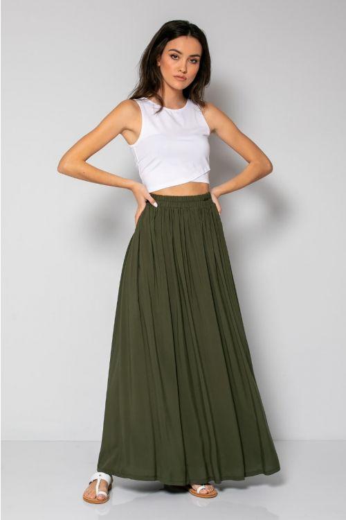 Μάξι φούστα με λάστιχο στη μέση-ΧΑΚΙ