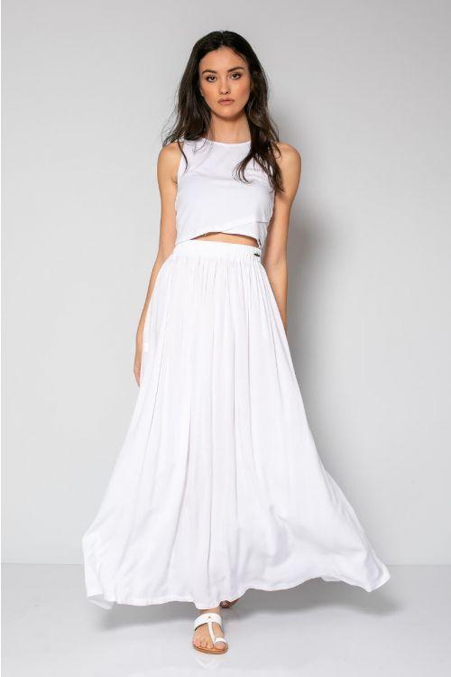 Μάξι φούστα με λάστιχο στη μέση-ΛΕΥΚΟ
