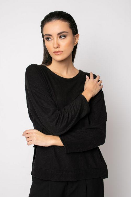 Μπλούζα με άνοιγμα στο πλάι-ΜΑΥΡΟ