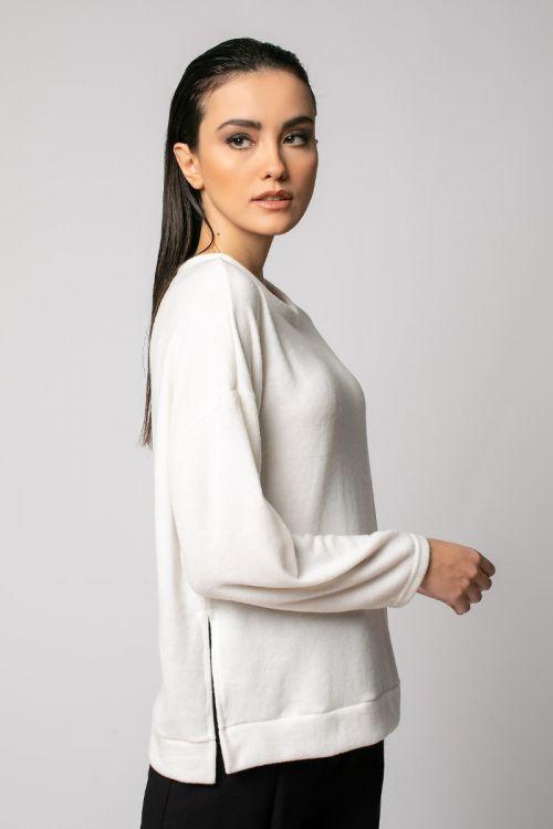 Μπλούζα με άνοιγμα στο πλάι-ΕΚΡΟΥ