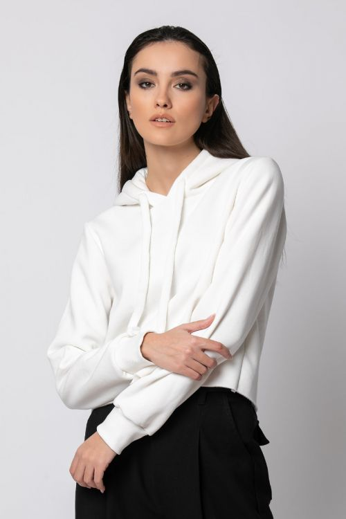 Μπλούζα φούτερ κοντή-ΕΚΡΟΥ