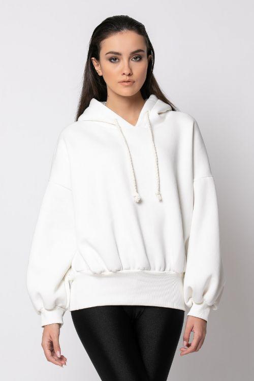 Μπλούζα φούτερ με λάστιχο στη μέση-ΕΚΡΟΥ