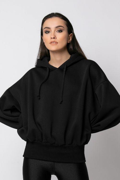 Μπλούζα φούτερ με λάστιχο στη μέση-ΜΑΥΡΟ