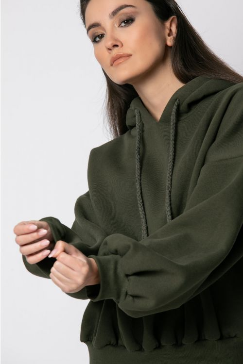 Μπλούζα φούτερ με λάστιχο στη μέση-ΧΑΚΙ
