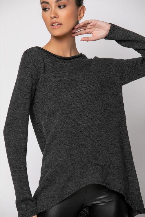 Ασύμμετρη πλεκτή μπλούζα-ΑΝΘΡΑΚΙ