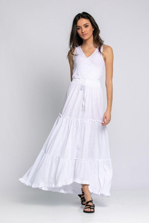 Μάξι φούστα με κορδονάκι-ΛΕΥΚΟ
