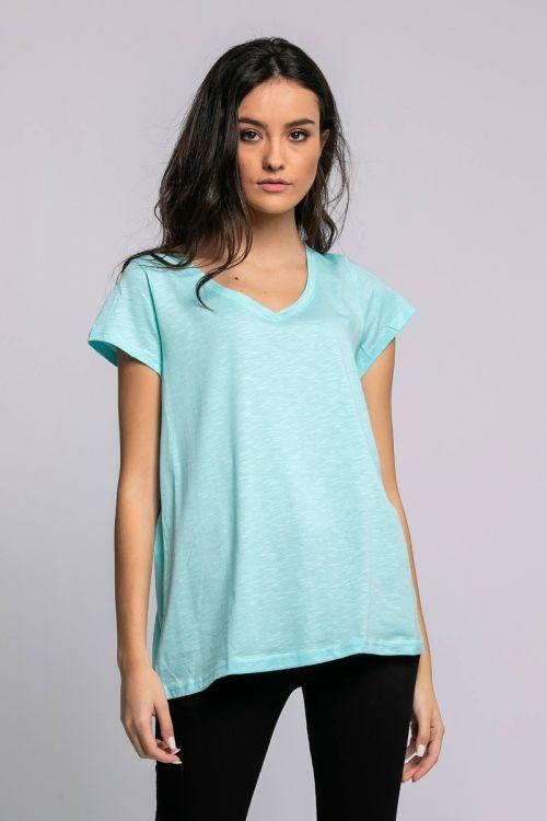 T-shirt με V λαιμόκοψη-ΣΙΕΛ
