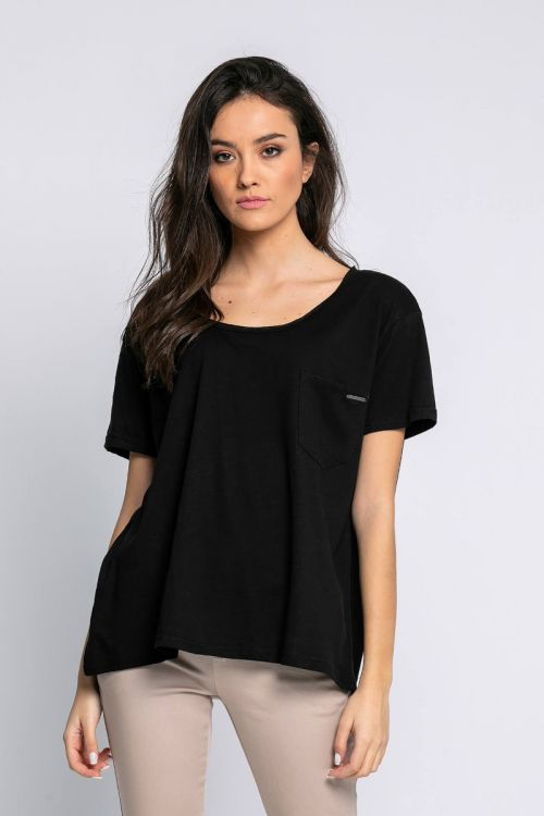 T-shirt με τσεπάκι milan-ΜΑΥΡΟ