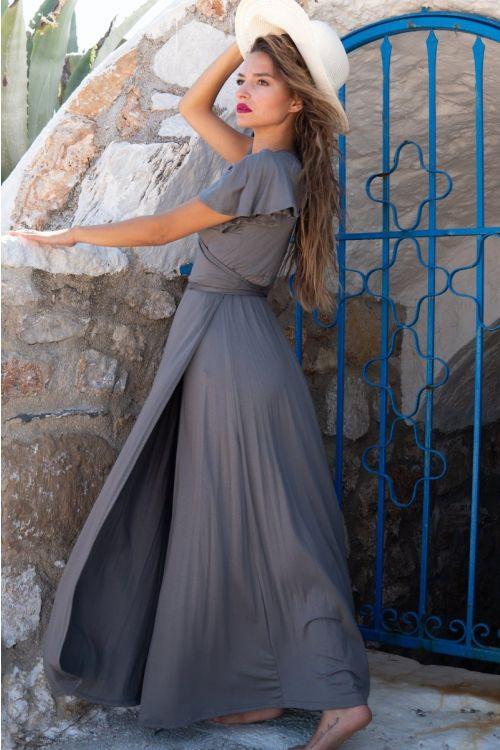 Μάξι φόρεμα με σχέδιο στα μανίκια βισκόζ-ΑΝΘΡΑΚΙ