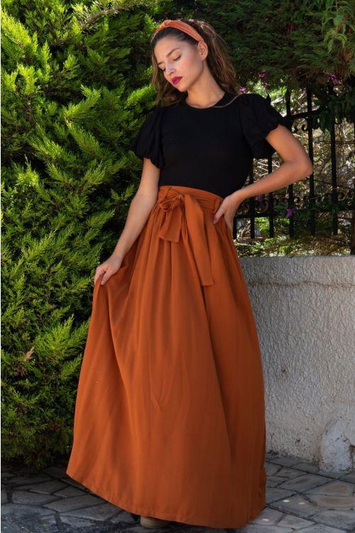 Μάξι φούστα με ζωνάκι-ΚΑΜΕΛ