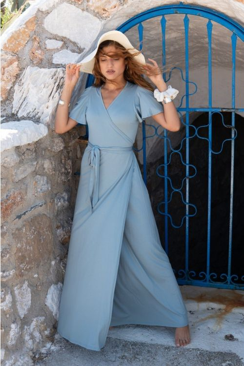 Μάξι φόρεμα με σχέδιο στα μανίκια βισκόζ-ΤΙΡΚΟΥΑΖ