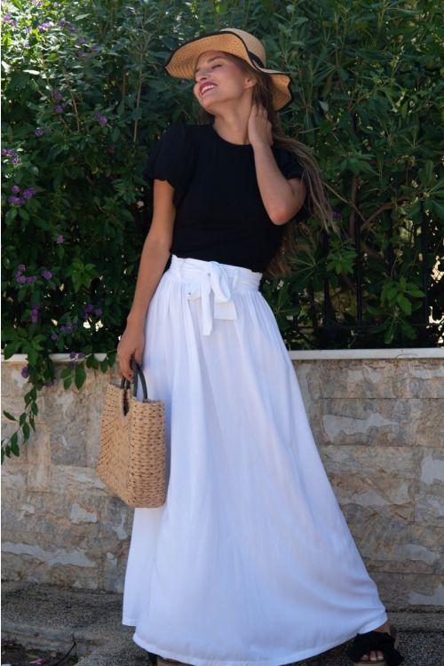 Μάξι φούστα με ζωνάκι-ΛΕΥΚΟ