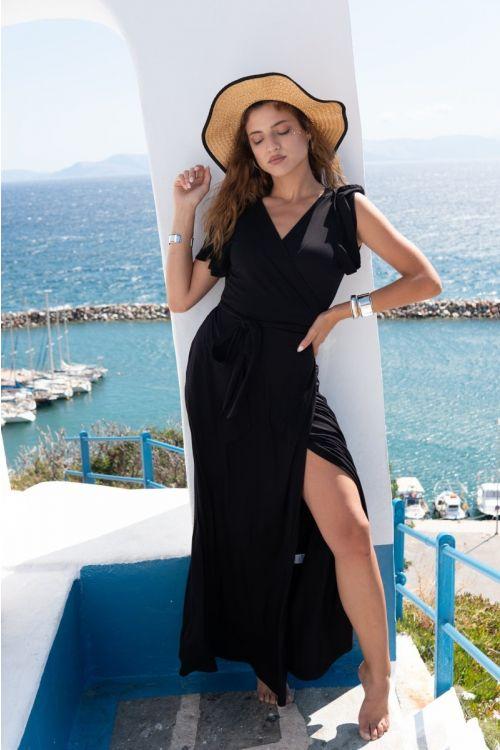 Μάξι φόρεμα με σχέδιο στα μανίκια βισκόζ-ΜΑΥΡΟ