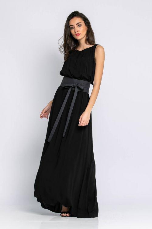 Μάξι φόρεμα με ζώνη-ΜΑΥΡΟ