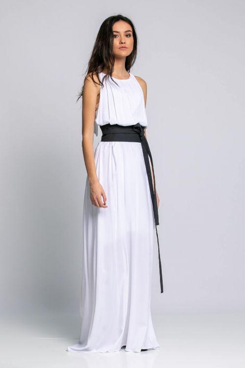 Μάξι φόρεμα με ζώνη-ΛΕΥΚΟ