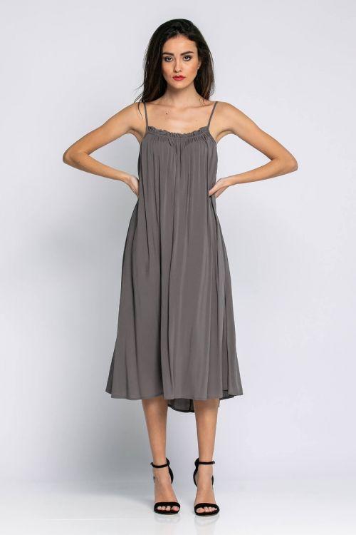 Μίντι φαρδύ φόρεμα ραντάκι-ΧΑΚΙ LIGHT