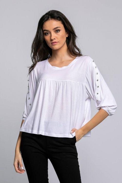 Μπλούζα με πέρλες στα μανίκια-ΛΕΥΚΟ