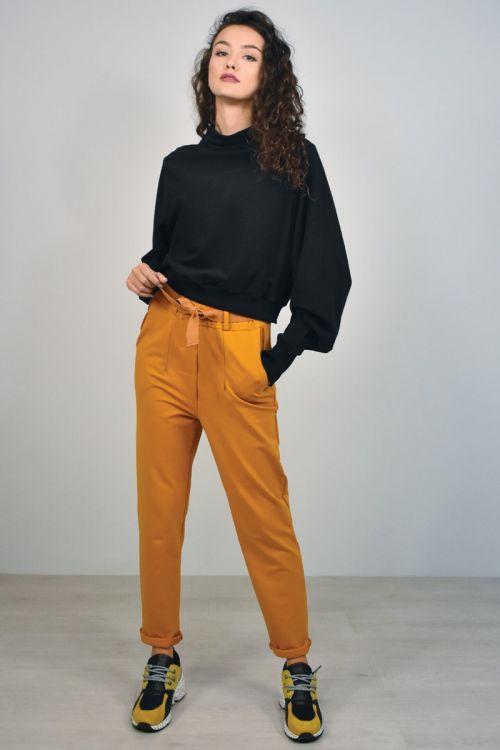 Παντελόνι με ρεβέρ και ζώνη-ΚΑΜΕΛ