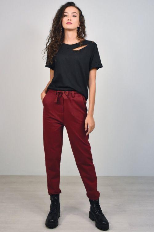 Παντελόνι με ρεβέρ και ζώνη-ΜΠΟΡΝΤΟ