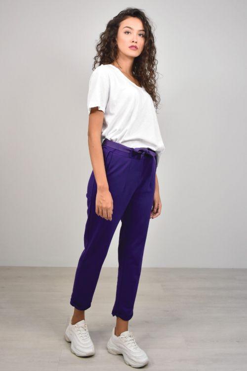 Παντελόνι με ρεβέρ και ζώνη-ΜΩΒ