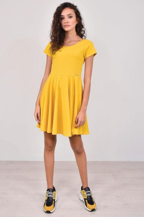 Κοντομάνικο φόρεμα μίντι-ΚΙΤΡΙΝΟ