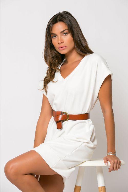 Φόρεμα φούτερ με V λαιμόκοψη-ΕΚΡΟΥ