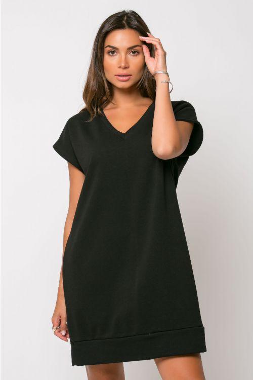 Φόρεμα φούτερ με V λαιμόκοψη-ΜΑΥΡΟ