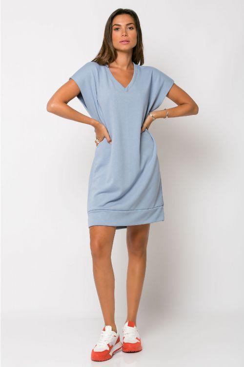Φόρεμα φούτερ με V λαιμόκοψη-ΣΙΕΛ