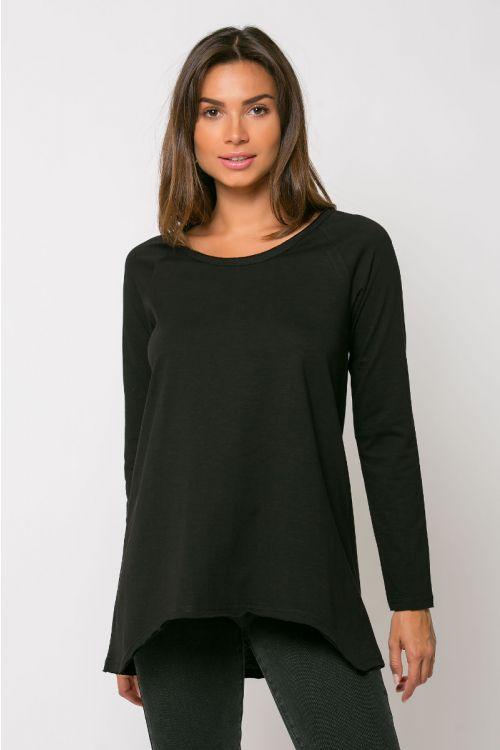 Ασύμμετρη μπλούζα reggio-ΜΑΥΡΟ