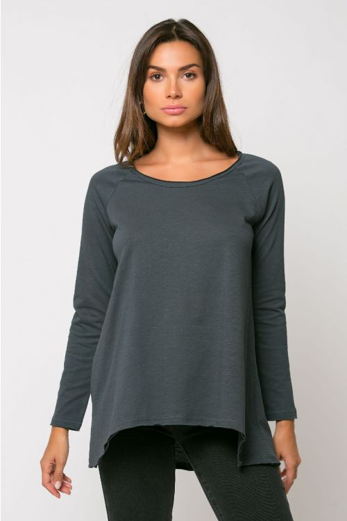 Ασύμμετρη μπλούζα reggio-ΑΝΘΡΑΚΙ