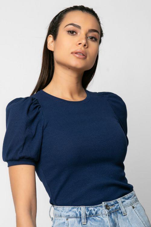 Ριπ t-shirt με πιέτα στους ώμους-ΜΠΛΕ NAVY