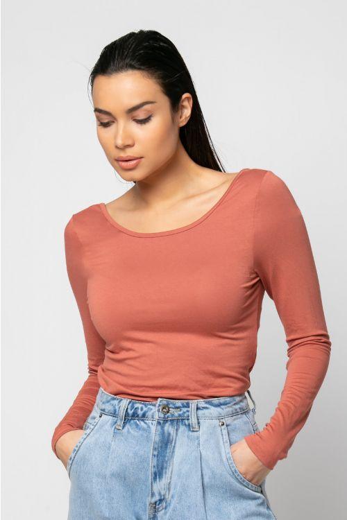 Μπλούζα με χαμηλή πλάτη-ΚΕΡΑΜΙΔΙ