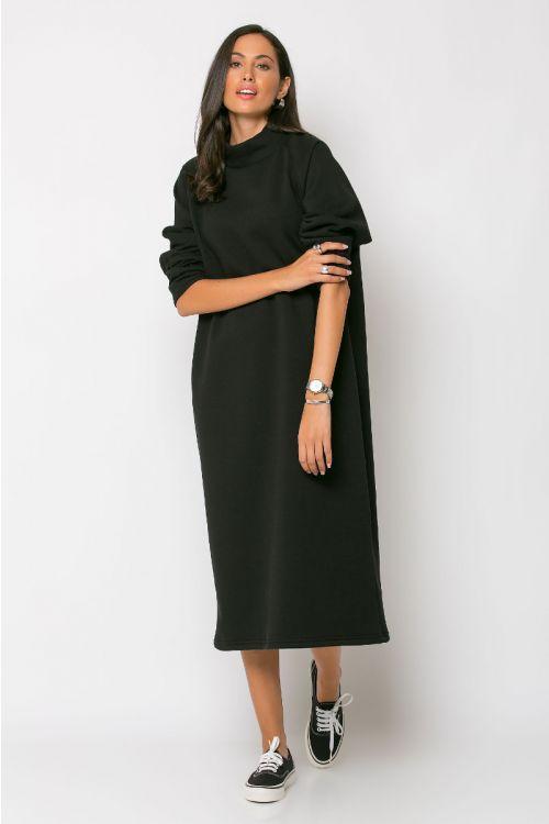 Μάξι φούτερ φόρεμα-ΜΑΥΡΟ